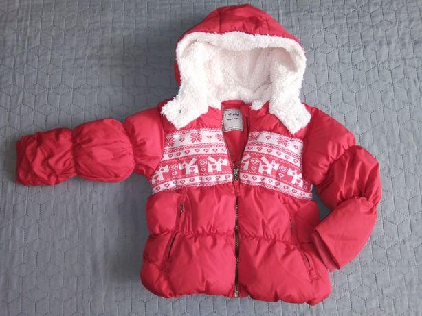 Zimowa dziewczęca kurtka czerwona next 104 cm 3-4 lata