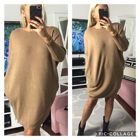 Sukienki tuniki angorka z kieszeniami 4 kolory  42,44,46   Sze