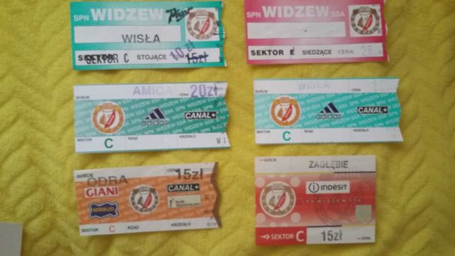 Bilety z meczów Widzewa - 6 szt. stan idealny