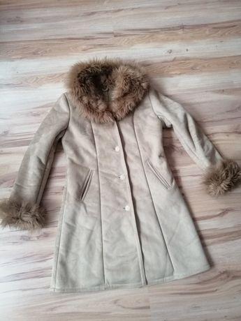 Kożuch góralski styl retro vintage płaszcz zimowy futerko 38 40 M L