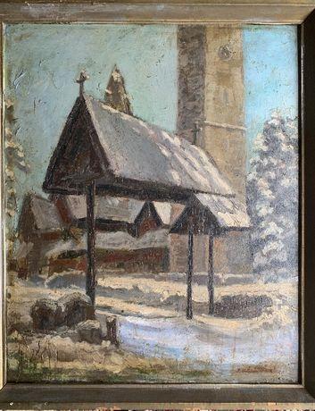 Polski malarz aukcyjny Grotto-Ślepikowski Karpacz góry olej antyk