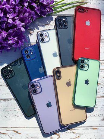 Прозрачный Гальванический чехол iPhone 7 8 Plus X XR Xs Max 11 Pro 12