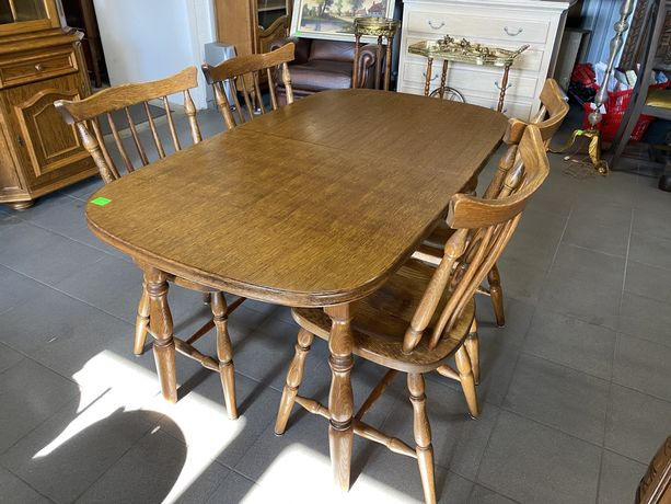 Stół kuchenny z krzesłami/Drewniany/Rozkładany/ŁADNY/RATY