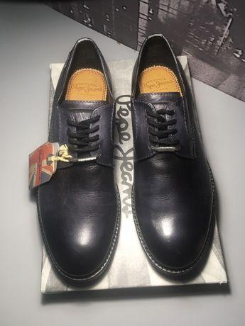 Туфли Pepe Jeans, DEAN LOW CUT. Кожаные черные демисезонные под джинсы