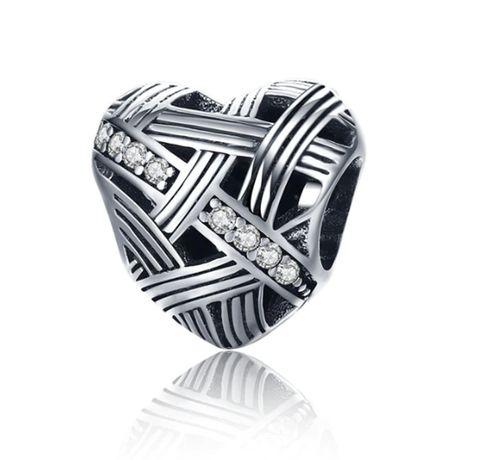 Charms PANDORA srebro 925 ażurowe serce cyrkonie miłość