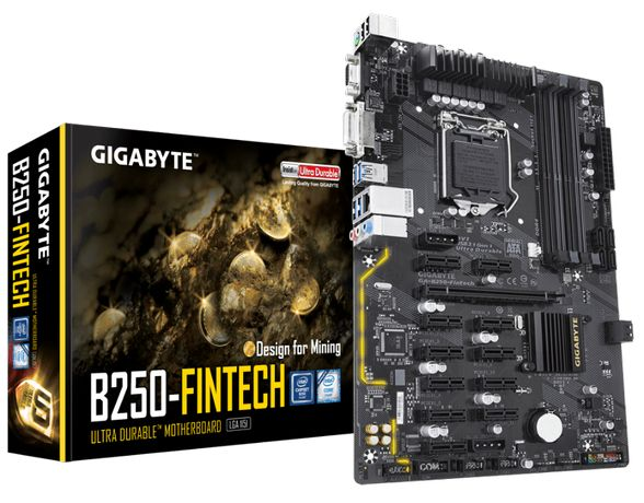 MB mining GIGABYTE GA-B250-Fintech Intel LGA 1151 ATX (майнінг)