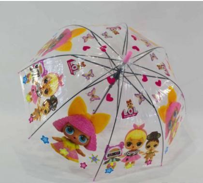 """Прозрачный детский зонт-трость """"LOL"""""""