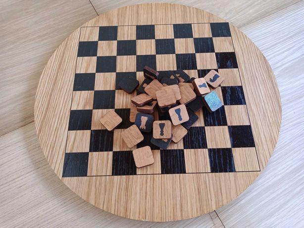 damas/xadrez em carvalho, tabuleiro circular