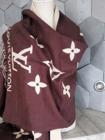 Szal chusta Louis Vuitton LV brąz beż wełna kaszmir