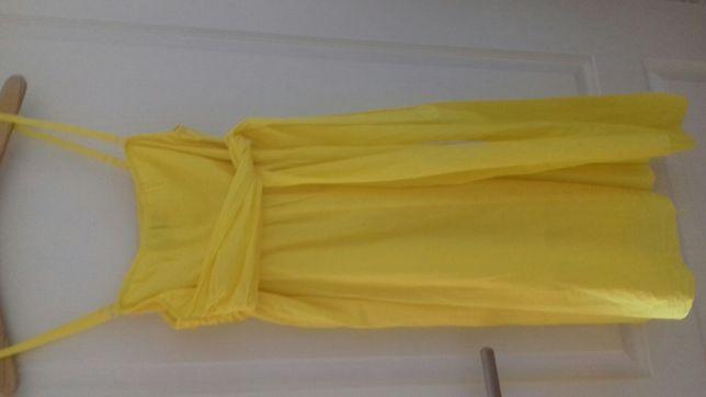 Żółta sukienka na cienkich ramiączkach z regulacją długości