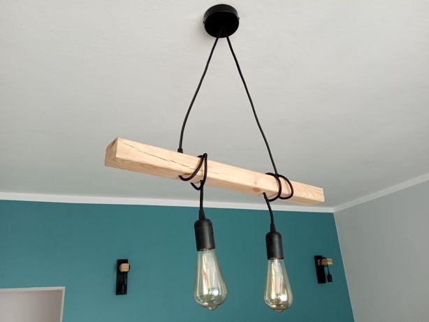 Lampa wisząca drewniana belka 60 cm