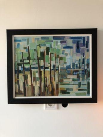 Abstrakcyjny obraz olejny - oprawiony