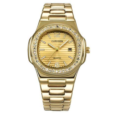 Męski zegarek na bransolecie kolor złoty diamenty