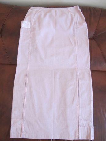 NOWA Top Secret XL 44 pudrowy róż długa hafty spódnica wiosna lato
