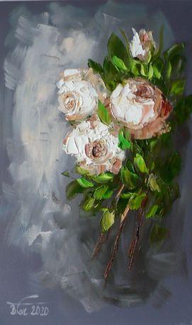 Róże 3 - Dorota Łaz - olej o wym: 50x30cm
