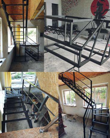 Зварювальні роботи, Сварочные работы, Металокаркас лестниц