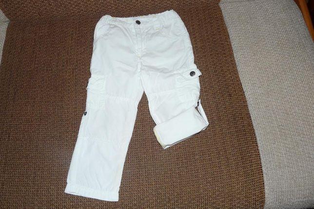 spodnie r.92 Coccodrillo białe 2w1, gratis, bermudy, spodenki krótkie