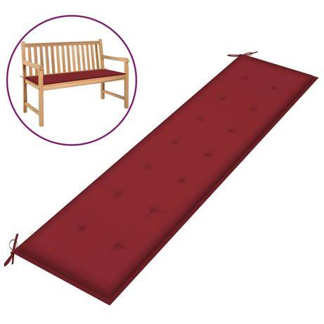 vidaXL Almofadão p/ banco de jardim 200x50x4 cm tecido vermelho tinto 314098