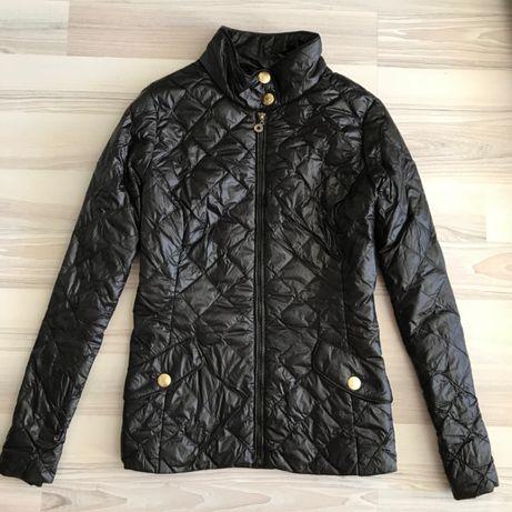 Черная натуральная пуховая стеганая куртка весенняя пуховик стьогана