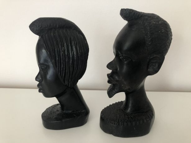 Oryginalne figurki z Afryki drewno czarne głowy Afrykańczyków oryginał