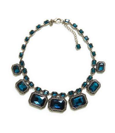 naszyjnik kolia z metalu Zara z kryształami glamour łańcuch wesele