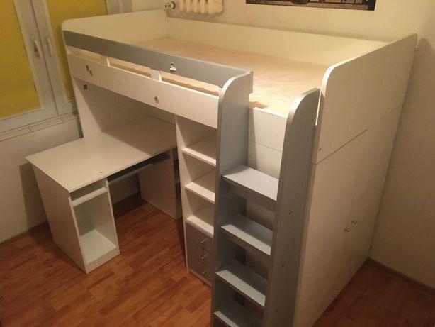 Łóżko piętrowe z biurkiem i szafą - dziecięce