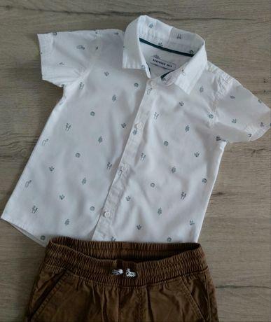 Koszula chłopięca biała z krótkim rękawem w kaktusy. RESERVED 86.