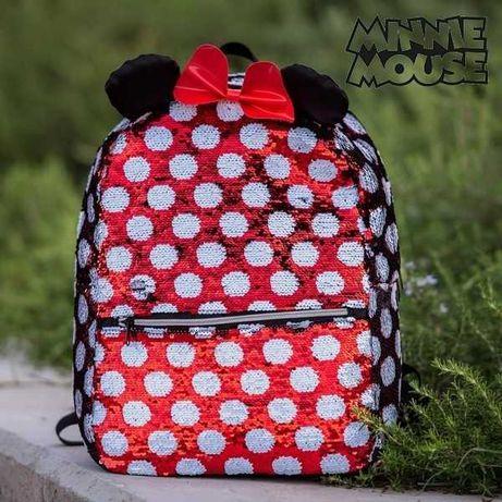 Mochila escola Minnie Mouse Lantejolas pré-escola férias