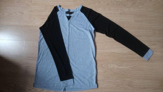Szara bluzka z czarnymi rękawami z siateczki