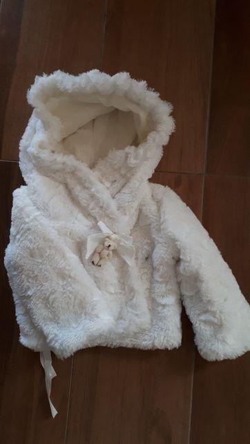 Narzuta kurtka futerko chrzest roczek 74