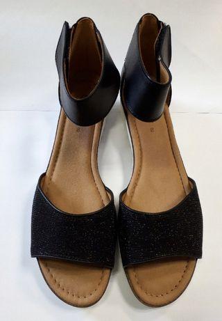 czarne sandały skórzane GABOR rozmiar 42 na szeroką stopę