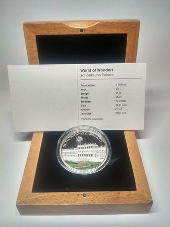 "Монета ""World of Wonders Schönbrunn Palace "", Дворец Шенбрунн, серебро"