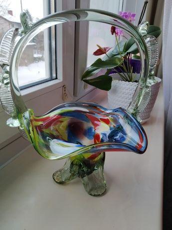 PRL koszyczek szklany stare kolorowe szkło