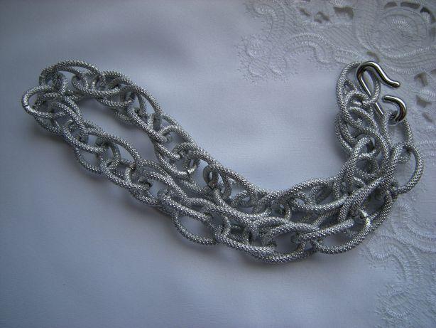 naszyjnik gruby łańcuch długi 52cm kolor srebrny