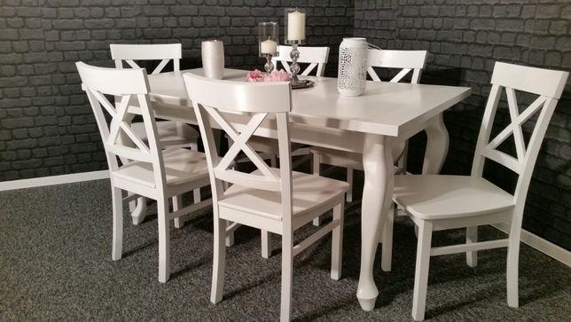 Komplet stół rozkładany i 4 krzesła biały prowansalski skandynawski