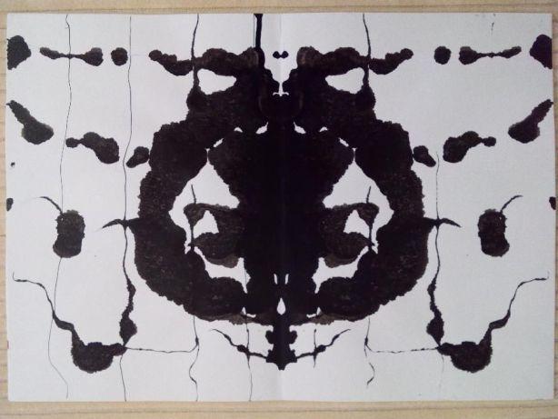 Pintura origina abstracta Rorscharch tinta-da-china 29,7x42 cm