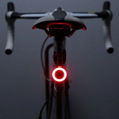 Велосипедный задний фонарь LED 5 режимов, USB зарядка, на батарейках