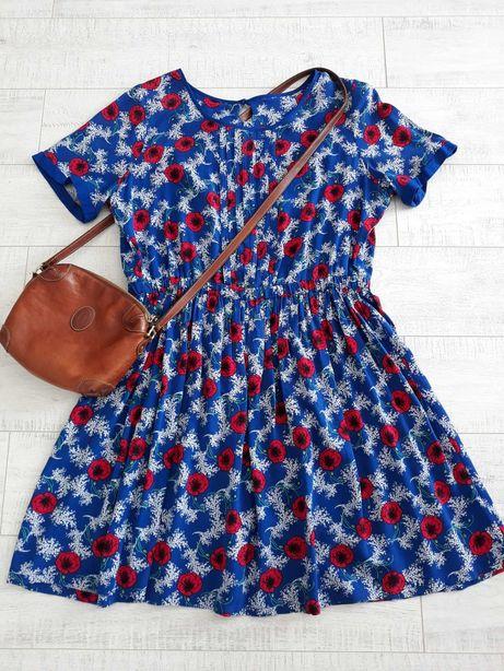 Sukienka TU wiskoza 16 maki kwiaty piękna. W pasie guma