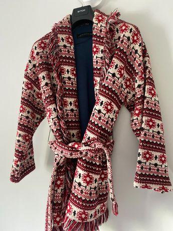 Sweter narzuta katana aztecki wzór gruby wiązany Zara S 36 zima 2020