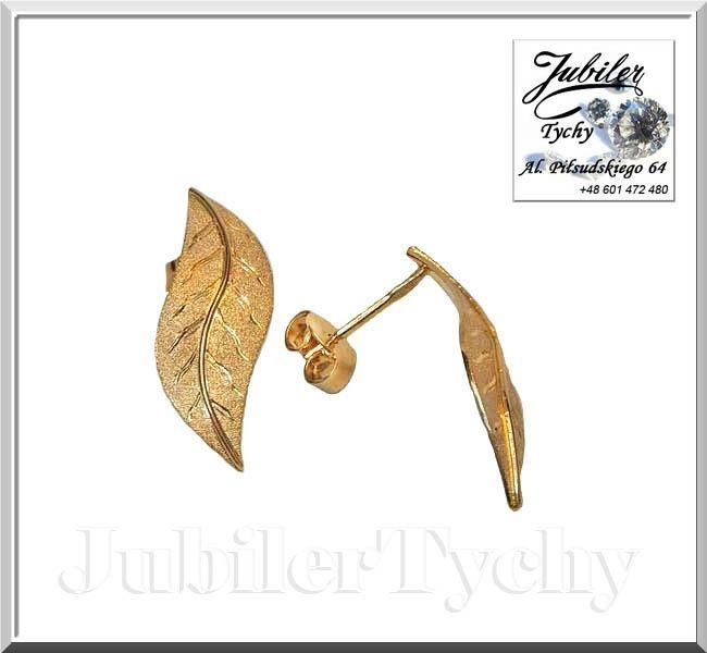 Złote kolczyki listki na wkrętki, sztyft złoto 585 liście JubilerTychy