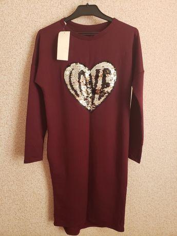 Платье бордовое с паетками