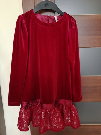 Sukienka bordowa z brokatem aksamit Coccodrillo r. 140.