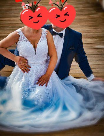 Suknia ślubna biała + 2szt. podwiązki nowe + koło + pokrowiec