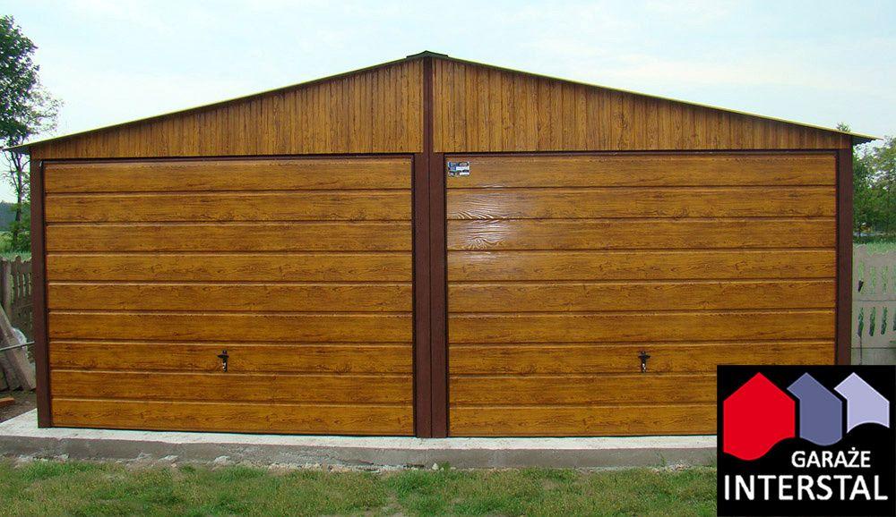 Garaże Blaszane PREMIUM PLUS Drewnopodobny 6x5 Garaż blaszany Blaszak