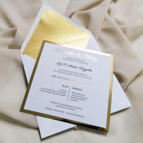 Zaproszenia ślubne w stylu GLAMOUR jednokartkowe złoto