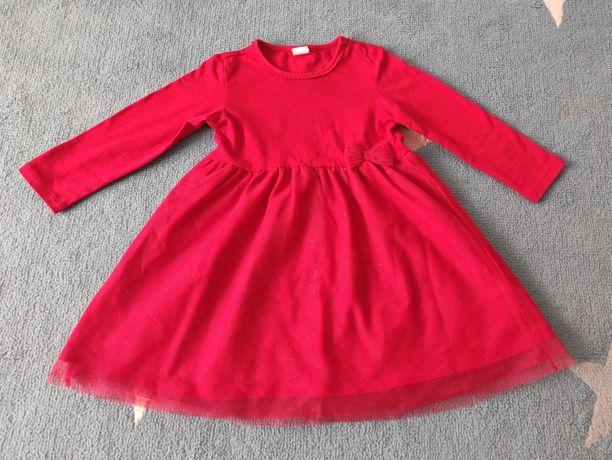 Sukienka czerwona tiul święta wesele H&M rozmiar 92-98