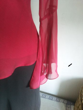 spódnica,bluzka z falbankąM-L(komplet), buty szpilki