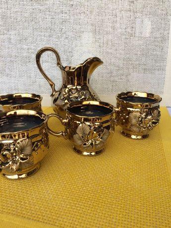 набор с золотой розой для чая, кофе