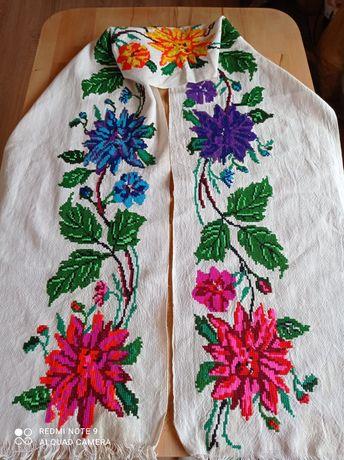 185x30 LUDOWY lambrekin zazdroska firanka haft ręczny krzyżykowy