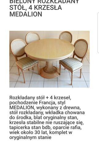 Stół rozkładany bielony plus 4 krzesła.